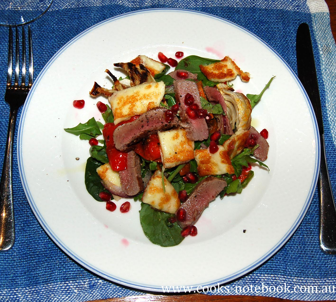 A winter salad – roast veggies, lamb and haloumi