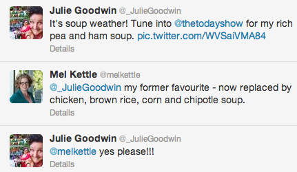 Chatting on twitter with Julie Goodwin