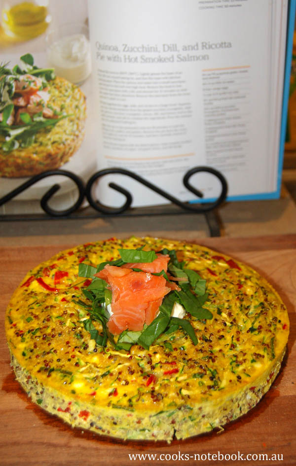 Quinoa, zucchini, dill and ricotta pie with hot smoked salmon