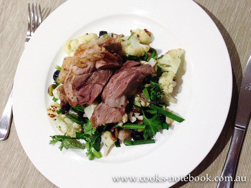 Roast cauliflower salad with lamb