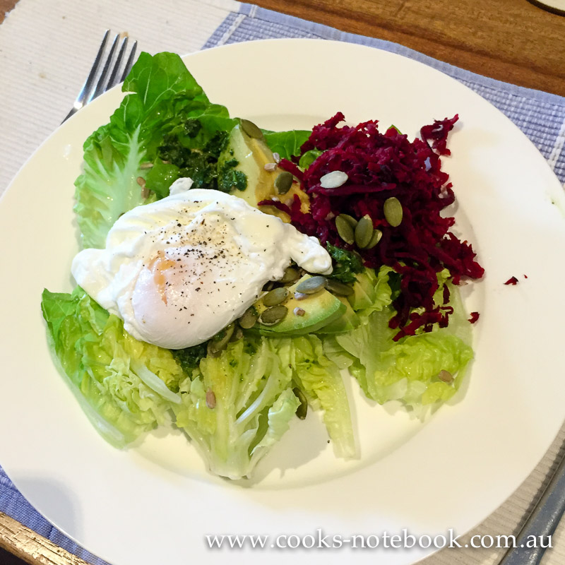 Summer salad days – green salad with poached egg